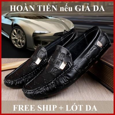 [BH 1 Năm] Giày Lười Da Bò Dâp Vân CK Đế Đúc Cao Su, Chỉ Khâu Bền Chắc, Form Ôm Chân - Labaha Shop