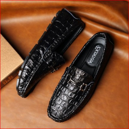 Giày nam da bò vân cá sấu cao cấp GD163