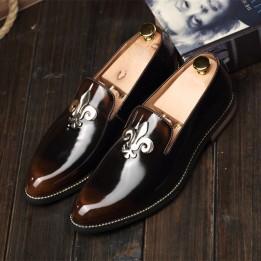Giày lười da bóng phong cách Anh GD354