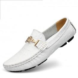 Giày lười da bò vân cá sấu GD566