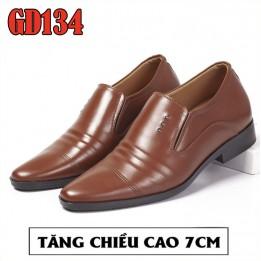 Giày nam tăng chiều cao 7cm, 100% da bò lịch lãm quý ông BH 1 năm GD134