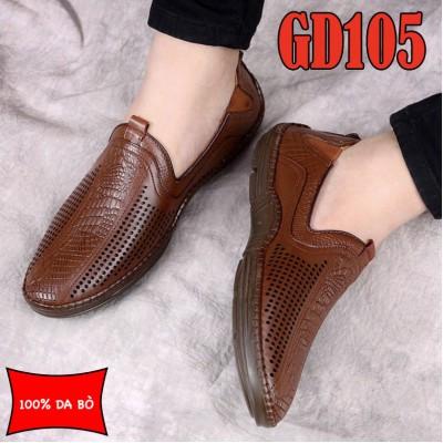Giày lười thoáng khí nam 100% da bò cao cấp, đế đúc cao su bền chắc, BH 1 năm GD105