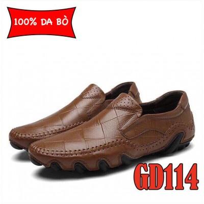 Giày lười nam 100% da bò cao cấp, đế đúc cao su bền chắc, BH 1 năm GD114