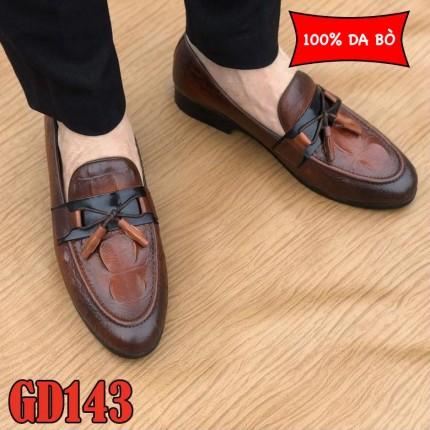 Giày công sở 100% da bò vân cá sấu đôi chuông trẻ trung cá tính, BH 1 năm GD143