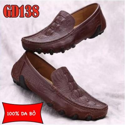Giày lười nam 100% da bò cao cấp, đế đúc cao su bền chắc, BH 1 năm GD139